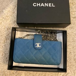 Chanel Crossbody Caviar Blue Pouch